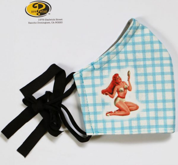 Blue Gingham Pin-up Girl Face Mask