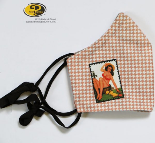 Peach Gingham Pin-up Girl Face Mask