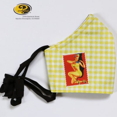 Yellow Gingham Pin-up Girl Face Mask