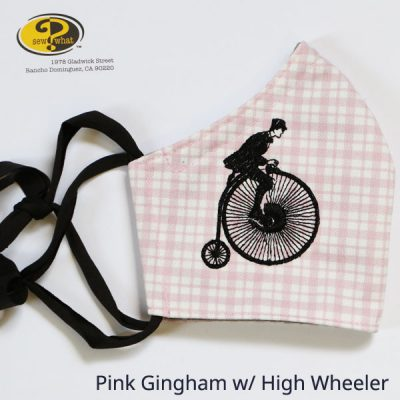 Pink Gingham Face Mask with High Wheeler Design