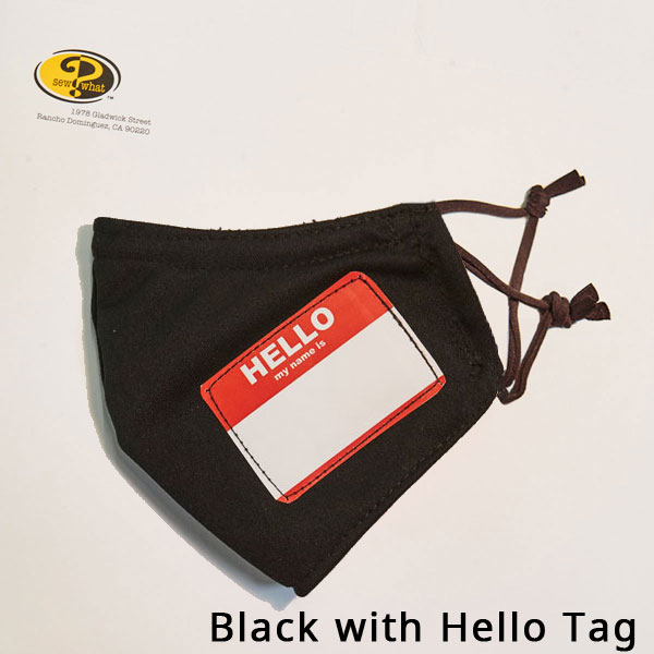 Black Face Mask with Hello Tag