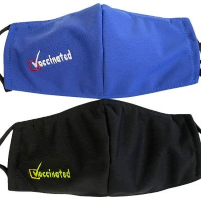 """Vaccinated!"" Embroidered Face Masks"